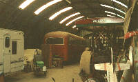 Vintage vehicles inside Nissen building