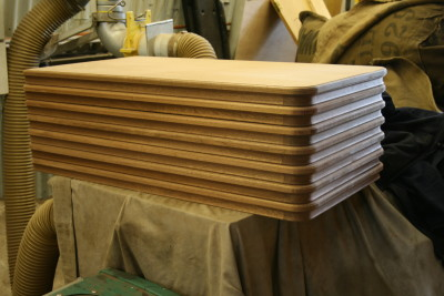Assembled table tops awaiting stain and varnish